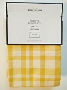 "Threshold Oblong Cotton Tablecloth Yellow Plaid 60""x120"""