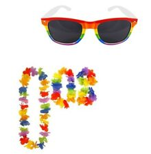 Rainbow Glasses With 4 pieces Hula Lie Garland Set Hen/Stag And Fancy Dress.