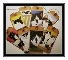 TUXEDO CAT PRIMITIVE HANG TAGS - SET OF EIGHT BLACK AND WHITE CATS - SET #1