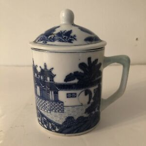 Chinese Blue and White Large China Chocolate Cup with Lid