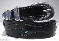 """Santa Fe Leather Co WOMEN'S Western TURQUOISE LEATHER BELT 610T Tapered 1.5 - 1"""""""