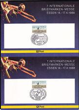Berlin ATM 2 Sonderkarten mit 20-Pfg.-Wert mit Sonderstempel Messe Essen 1988