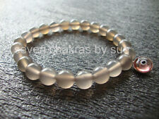 Feng Shui - 8mm Gray Agate + Pink Sterling Silver Evil Eye