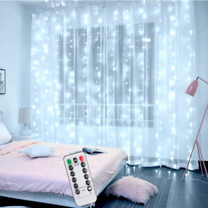 Bright White LED Curtain Fairy String Light In/Outdoor Backdrop Wedding Party