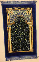 Islamic Prayer Rug Mat Sajada for Salat with Cushioning Blue colored
