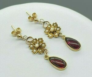 Antique Victorian 9k 9ct gold garnet and seed pearl drop dangle stud earrings