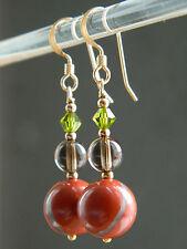 Red Jasper & Smoky Quartz Gemstone, Swarovski Crystal, 14ct Rolled Gold Earrings
