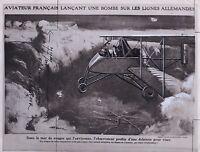 Fotomontage WW1 Flugzeug Frankreich Foto Papier Analog Verziert IN Gouache