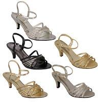 ladies diamante shoes Sandal House womens buckle glitter kitten heel casual new