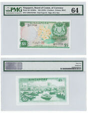SINGAPORE 5 Dollars w/Red Seal, Sign Hon Sui Sen, Orchid, 1970, P-2d, PMG 64 UNC