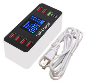 8 Multi-Port USB Adapter Desktop Wall Charger Smart Quick Charging Station 3.0 C