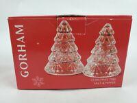 Gorham Full Lead Crystal Christmas Tree Salt & Pepper Shakers Holiday Tree