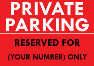 """""""PRIVATE PARKING - RESERVED FOR NUMBER"""" METAL SIGN PERSONALISED PARKING SIGN"""