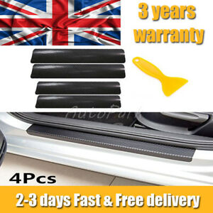 4pcs Car Carbon Fiber Door Sill Scuff Welcome Pedal Protect Sticker Accessories