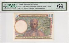 1941 French Equatorial Africa 5 Francs P-6 S/N A/19 541291 PMG 64 Choice UNC