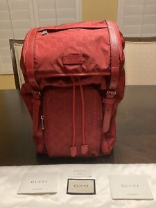 New Authentic Gucci Nylon Red Backpack GG Guccissima Large