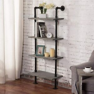 MyGift 4-Tier Industrial Metal Pipe & Gray Wood Wall Leaning Ladder Bookshelf