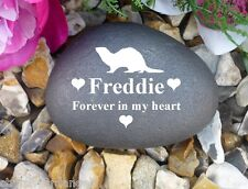 Pet Memorial Pebble (Stone Effect) - Personalised - Weatherproof - Ferret 2