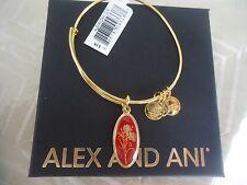 Alex and Ani LOVE POTION CARNATION Charm Bangle Yellow Gold New W/Tag Card & Box