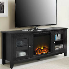 Electric Fireplace TV Stand Black Media Wood Console Heater Entertainment Center