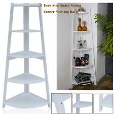 White 5 Tier Corner Shelf Unit Bathroom Storage Bookcase Display Stand 137cm SY