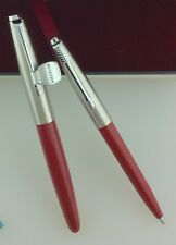 Parker Super 21 Fountain Pen And Ballpoint Red Fine Nib New Old Stock