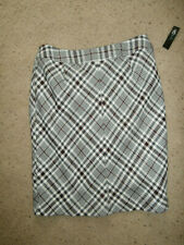 NEW NWT EAST 5TH PLAID SKIRT SZ 14 LARGE RED BLACK TWEED LINED $44 MACH WASH