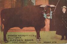 Omaha NE * Hayden Bros. Meat Market c1908 * Martin Reum & Big Steer Jack