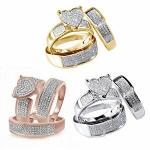 NEW 3Pcs/Set Jewelry Yellow Gold Filled Heart White Sapphire Wedding Ring Sz6-10