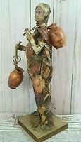Vintage Tall Mexican Old Farmer Lady carrying Pots Figure Statue Paper Mache