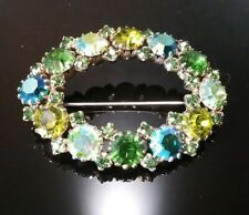 """Oval Costume Brooch Green Yellow Blue AB Stones Sparkles 2"""" x 1.5"""""""