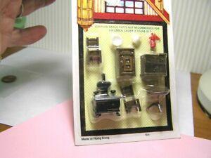 "Miniature Dollhouse 9 Pc Plastic Kitchen Set 1/4"" 1:48 All Brown"