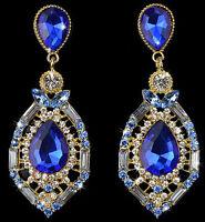 Fashion Elegant Women Crystal Rhinestone Ear Stud Drop Dangle Earrings Chain New