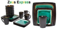 32 Piece Dinnerware Set Service for 8 plates Mugs Bowls Gibson Ocean Turquoise