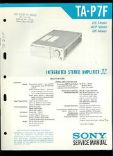 Rare Original Factory Sony TA P7F Stereo Amplifier Amp Service/Repair Manual