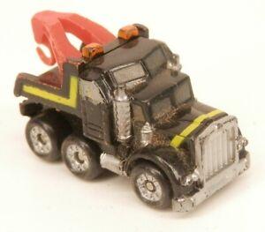 Micro Machines Tow Truck Black w/Yellow Stripes Wrecker