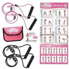 Body By Jake Gym In Shoe Set Clips Handle Resistance Bands Exercise Ab Workout