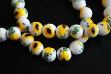 10pcs10mm Round Porcelain Ceramic Loose Spacer Beads Crafts Findings Sunflower