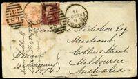 1874 SG93 4d x2 SG43 1d 9d Franking to Melbourne Australia