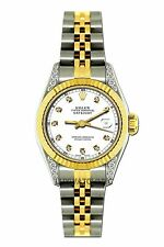 LADIES 26MM ROLEX WATCH 18K GOLD SS DIAMOND CASE WATCH