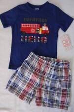 Baby Boys 2 Pc Set Size 12 Months Outfit T Shirt Shorts Fire Truck Hero Fireman