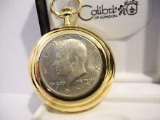COLIBRI GOLDTONE JOHN F KENNEDY HALF DOLLAR REAL COIN POCKET WATCH  NEW  AS-IS