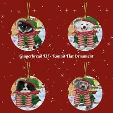 Gingerbread Elf Dog Cat Round Flat Christmas Tree Ornament Gift Decor