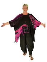 HO300ZT36 Damen Tunika Chiffon Gr. 44 46 48 50 52 54 schwarz/pink Plus Size