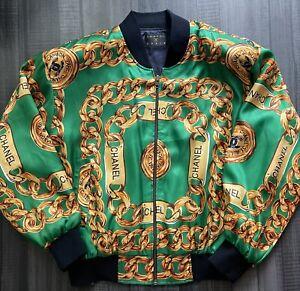 80s Chanel Paris Gold Chains Vintage Green Bomber Jacket 1980s Designer