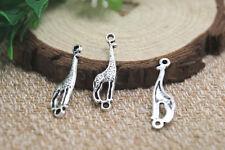 40pcs--Giraffe Charms,silver Animal Charm Pendants,Giraffe connectors 30x8mm
