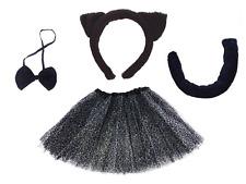 ANIMAL FANCY DRESS Cat Set Ears Headband & Tail Bow Tie Leopard Print TUTU