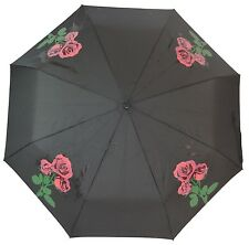 Ladies Red Rose Colour Changing Folding Compact Umbrella & Sleeve Floral Gift