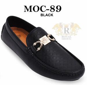 Royal shoes Men's Italian fashion memory foam elegant Black shoes golden design