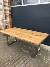 Tisch Esstisch Wildeiche massiv geölt Baumkante  Edelstahl Gestell 180x90 cm